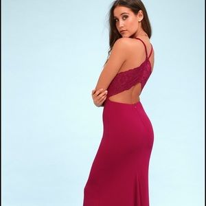 Lulus Love Story Magenta Backless Lace Maxi Dress